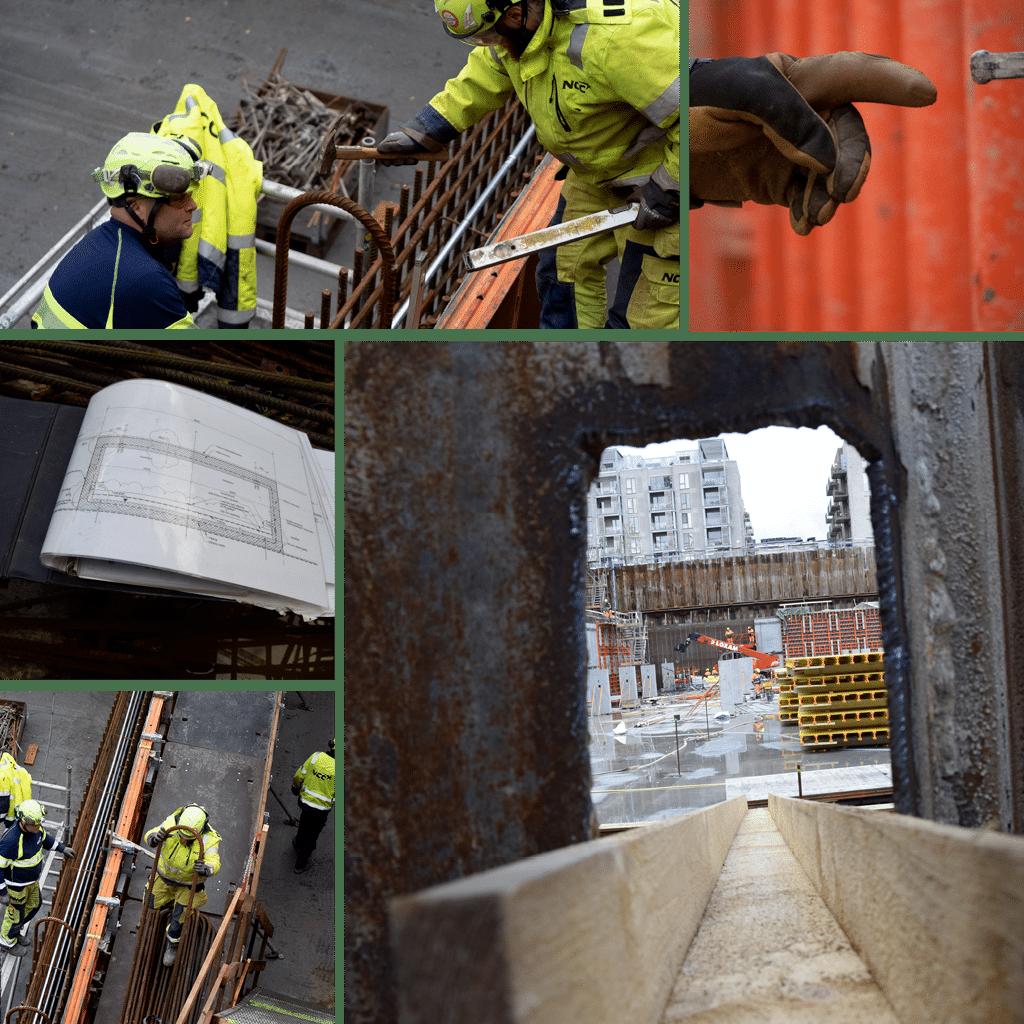 Kronløbaøen - kig gennem spuns mellem de to byggegruber. Armeringsarbejde i tunnelgruben.