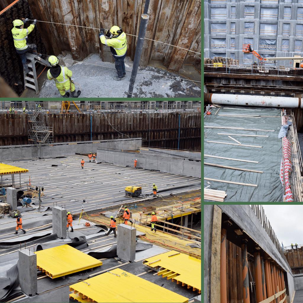 Kronløbsøen - formborde, arbejde v tunnelgrube, hul til indkørsel tunnel til p-kælder