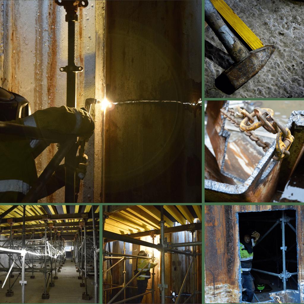 Kronløbsøen - skærearbejde v åbning af spuns mellem tunnelgrube og byggegrube