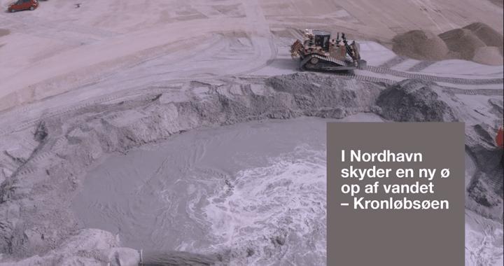 Kronløbsøen - sandfyldning, gravemaskine og sandpumpe.