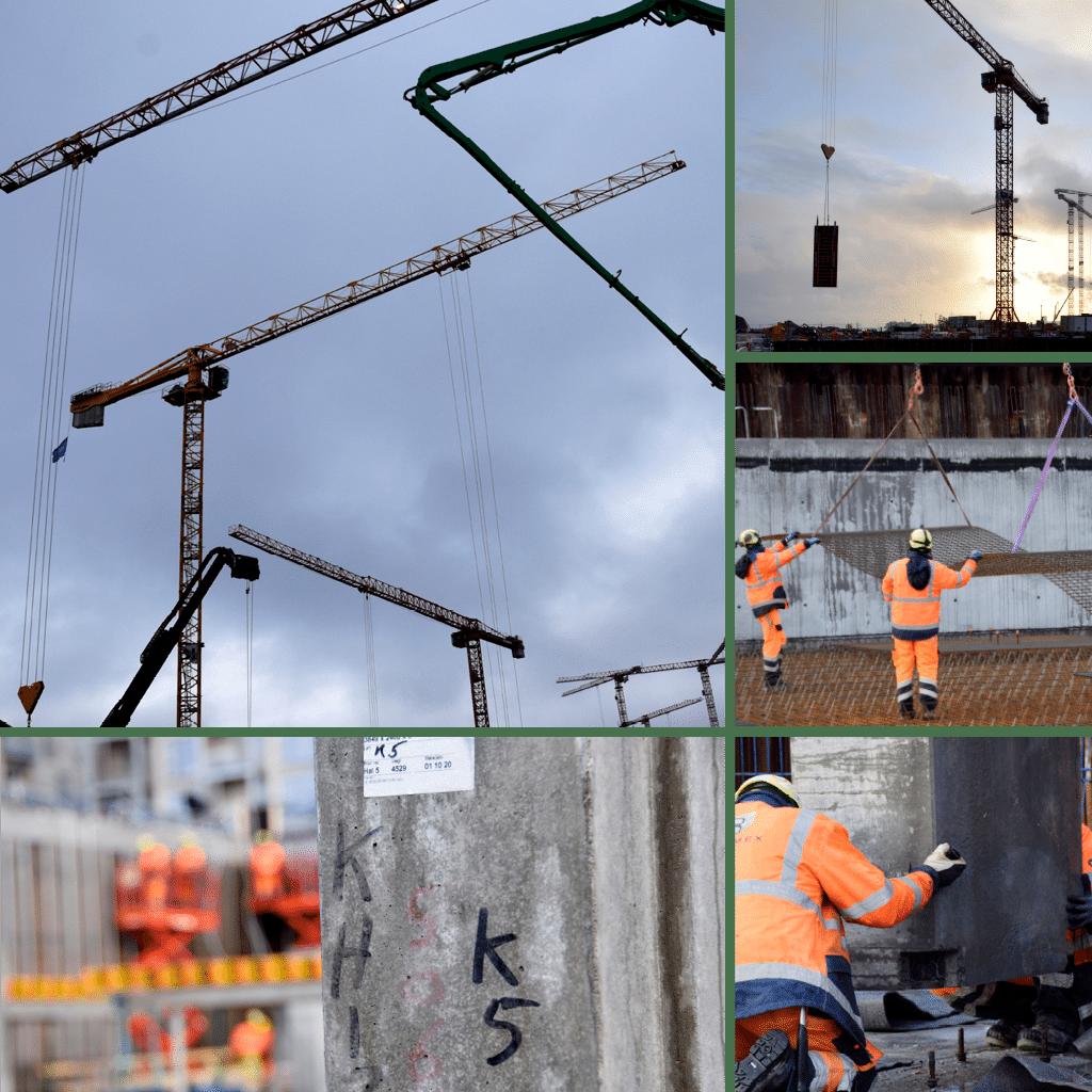 Kronløbsøen - kraner i arbejde på byggepladsen