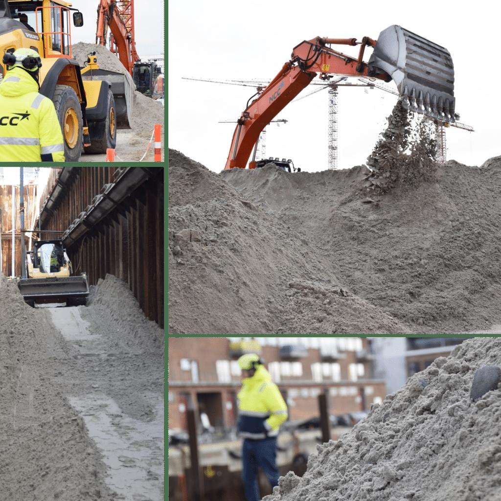 Kronløbsøen byggeplads sandfyldning. Gravemaskine, bobcat.