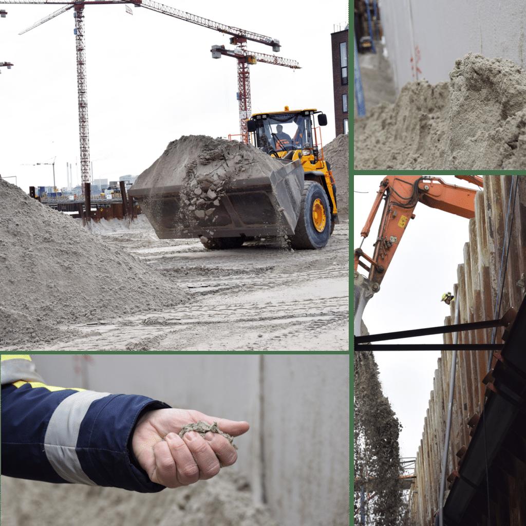 Kronløbsøen byggeplads, sandfyldning, gravemaskine, gummiged, sand i hånd.