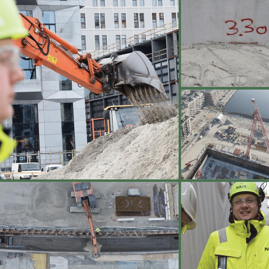 Kronløbsøen byggeplads - Sandfyldning. Collage. Gravemaskine, sand, mand.