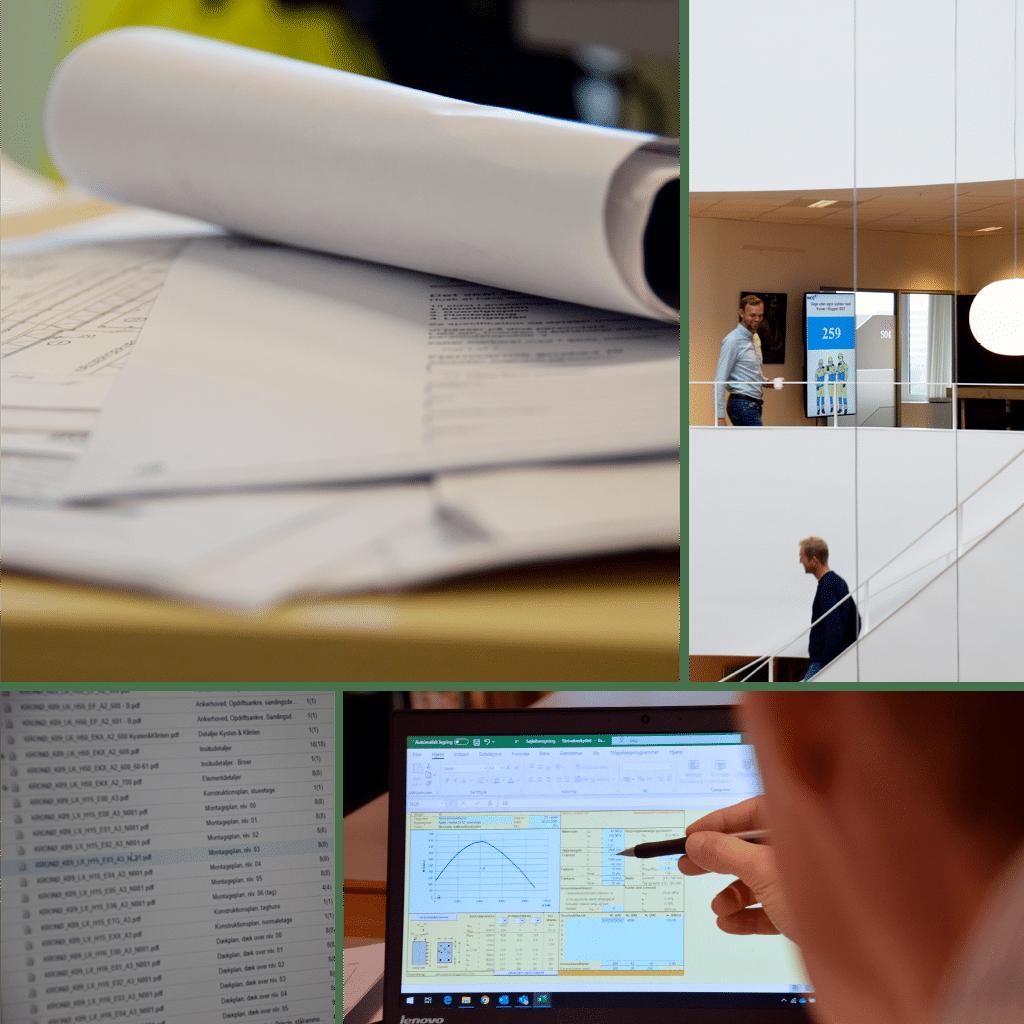 Kronløbeøen - callage af billeder m ingeniøren på arbejde. Papir, computer, kontormiljø.