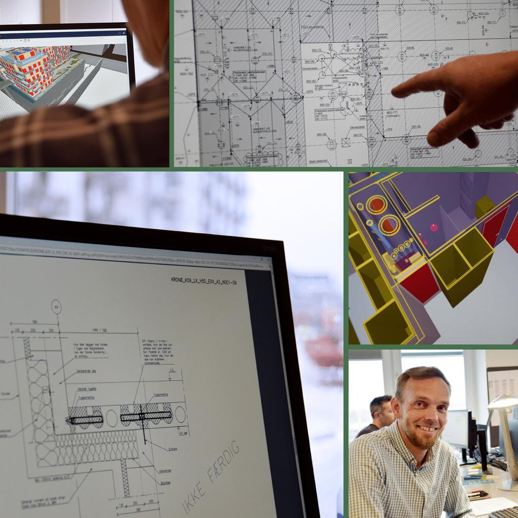 Kronløbsøen - med ingeniøren på arbejde. Collage med Kåre Flindt, computer visning af modeller og tekniske tegninger.