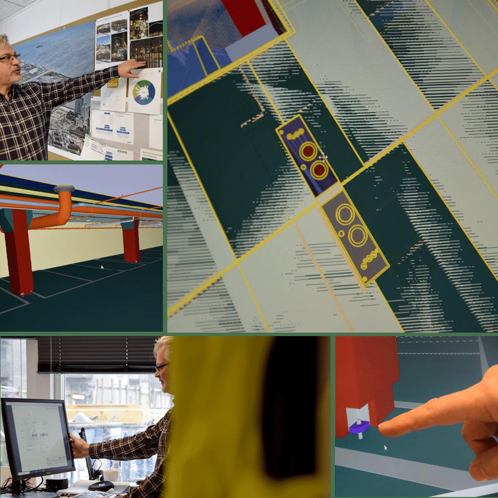 Kronløbøen. Collage med Morten Lauritsen, computer skærm med modeller.