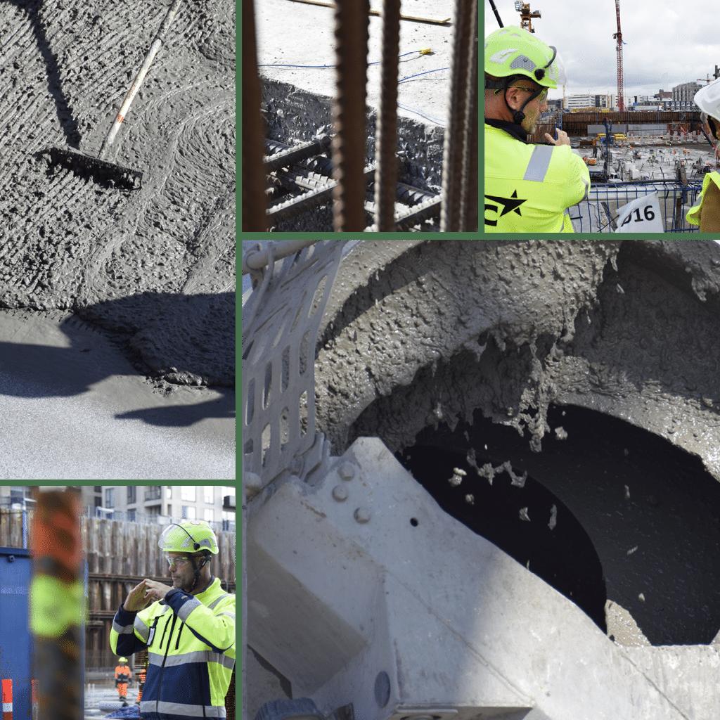 Kronløbsøen - collage med billeder fra støbning, beton