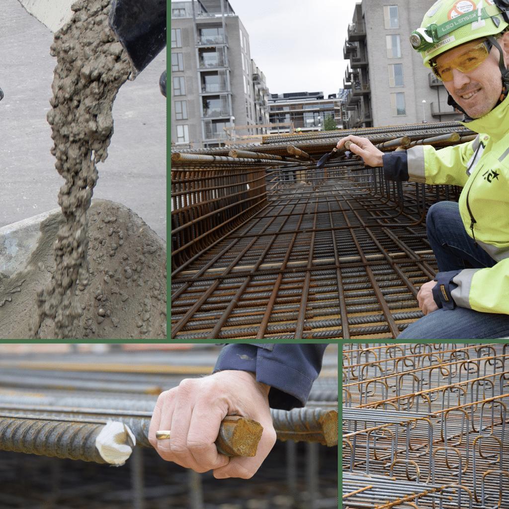 Kronløbsøen - transferdæk, collage med armeringsarbejde og støbning