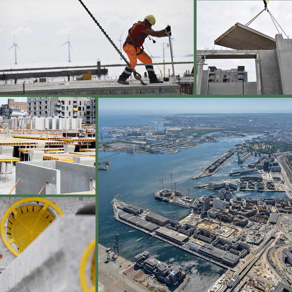 Kronløbsøen - bygningerne skyder i vejret. Luftfoto og stemnings collage men montering af elementer.