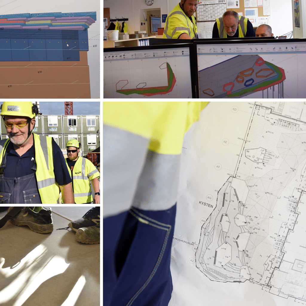 Kronløbsøen - collage fra byggekontoret, teknisk tegning, 3D, Leif Nielsen, NCC