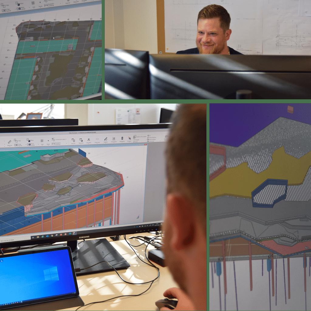 Kronløbsøen - collaged fra byggekontoret. Michael P. Madsen, NCC og skærme med 3D modeller.