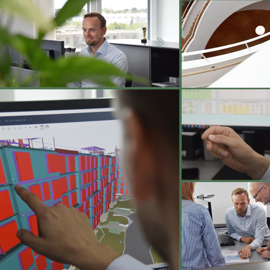 Kronløbsøen - besøg på kontoret hos NCC Engenieering. Digital model af bygningen.